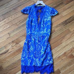 Dresses & Skirts - Blue lace mini dress